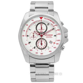 LICORNE 力抗 / LT094MWWI-R / entree 躍進衝刺三環計時日期不鏽鋼手錶 紅白色 42mm