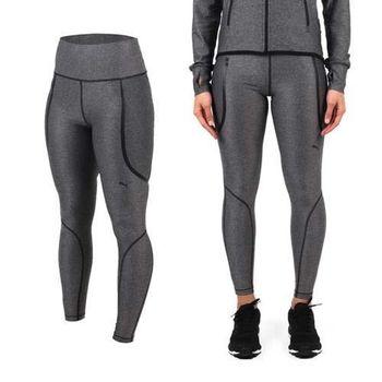 【PUMA】PWRSHAPE 女緊身長褲-歐規  慢跑 路跑 瑜珈 有氧 休閒 灰