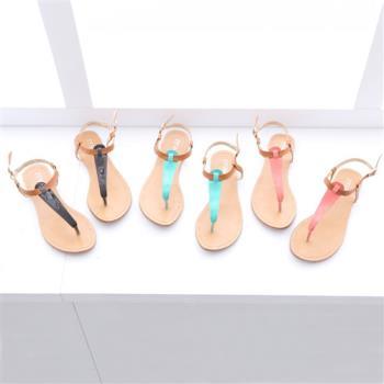 TTSNAP夾腳涼鞋-甜美糖果撞色一字交叉平底涼鞋-3色