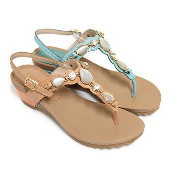 【GREEN PHOENIX】異國璀璨水鑽mix寶石T型金屬裝飾全真皮臘感牛皮楔型夾腳涼鞋-橙色、綠色