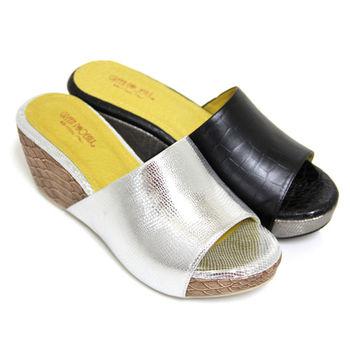 【BIS-VITAL】素面幾何壓花義大利羊皮厚底拖鞋-銀色、黑色