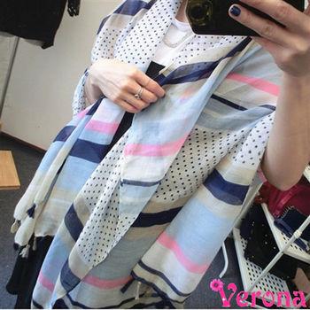 【Verona】小清新圓點流蘇棉麻圍巾方巾圍巾披肩(180 * 100 cm)