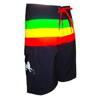 《WAXX》綠黃紅橫條紋黑色高質感運動快乾型男海灘衝浪褲