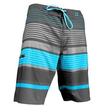 《WAXX》灰藍拼接高質感運動快乾型男海灘衝浪褲