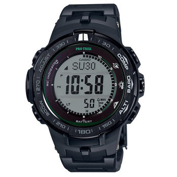 CASIO PRO TREK 霹靂遊俠的強悍風格登山運動再進化版電波式腕錶-黑-PRW-3100FC-1