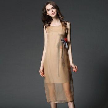 (現貨+預購 RN-girls)-歐美夏裝新款燙鑽手繪真絲背心連身裙