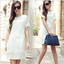 (現貨+預購RN-girls)-歐美夏季新款圓領短袖純白色寬鬆顯瘦連身裙