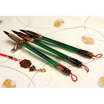 【傳家手工胎毛筆】綠瑪瑙鼎級玉石全手工胎毛筆【3支】--胎毛筆
