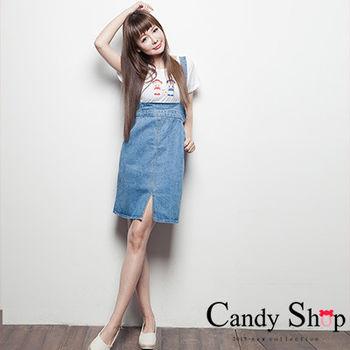 Candy小舖 高腰前開岔牛仔吊帶裙-(淺藍色)復古高腰設計