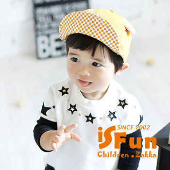 【iSFun】剪刀石頭布*格紋兒童棒球帽/焦糖