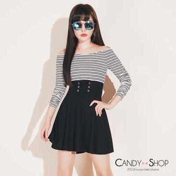 Candy小舖 圓領條紋長袖馬甲式綁帶傘狀下擺短洋裝-黑色