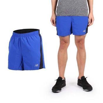 【NEWBALANCE】男梭織運動短褲 -慢跑 路跑 夜跑 休閒 NB 藍黑銀  腰帶附可調式拉繩