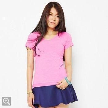 TOP GIRL 簡約素面V領吸濕排汗短袖T-桃紅
