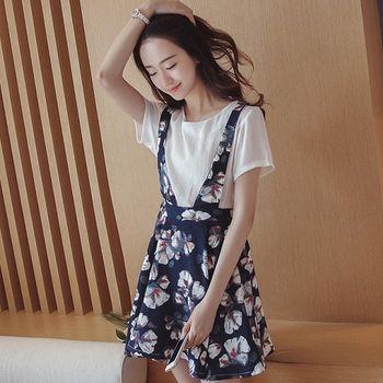(現貨+預購 RN-girls)-版夏季新款寬鬆印花假兩件吊帶連身裙
