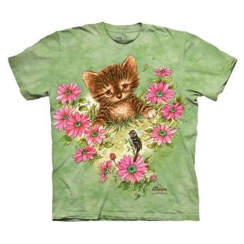 【摩達客】(預購)美國進口The Mountain 好奇小貓咪 純棉環保短袖T恤