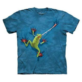 【摩達客】(預購)美國進口The Mountain 攀岩青蛙 純棉環保短袖T恤