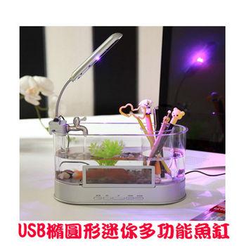 USB橢圓形迷你多功能魚缸-白