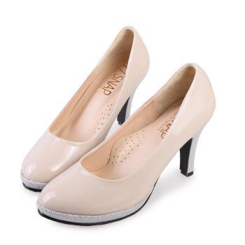 TTSNAP高跟鞋-MIT全真皮防水台小圓頭軟Q華麗跟鞋-氣質藕