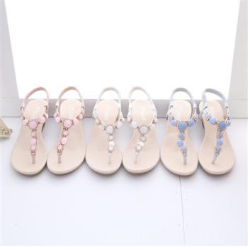 TTSNAP楔型涼鞋-粉嫩寶石花型夾腳坡跟涼鞋 共三色(白/粉/藍)
