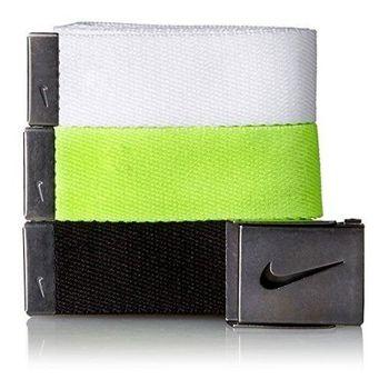【Nike】2016金屬扣旋風標誌棉軟織帶白綠黑3入組皮帶(預購)