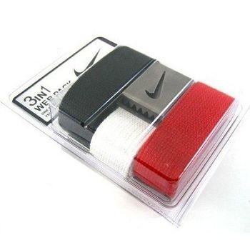 【Nike】2016金屬扣旋風標誌棉軟織帶紅白黑3入組皮帶(預購)