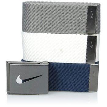 【Nike】2016金屬扣旋風標誌棉軟織帶寶藍灰白3入組皮帶(預購)