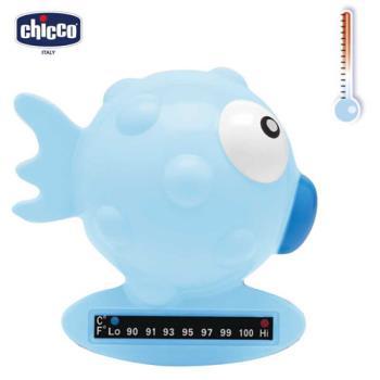chicco-小河豚沐浴溫度計-粉藍