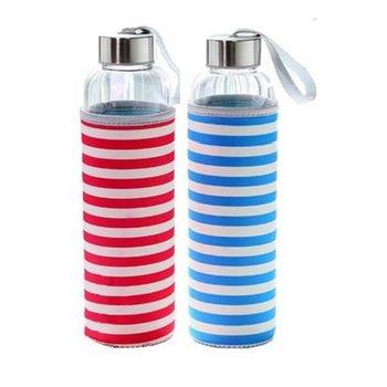 條紋耐熱玻璃隨身瓶550ml