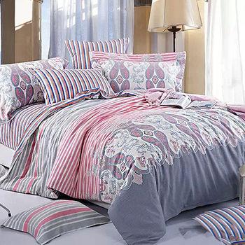 【FOCA-波光粼粼】加大精梳棉四件式鋪棉兩用被床包組