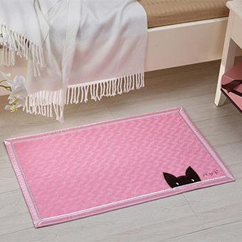 窩自在★日系毛絨可吸水浴室臥室防滑地墊/腳踏墊-粉色