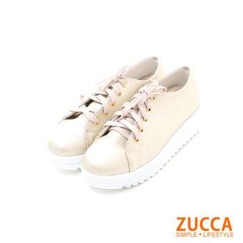 ZUCCA【Z5630GD】日系亮面系綁繩厚底休閒鞋-金色