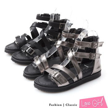 ☆Love Girl☆美式搖滾交叉搭扣內增高羅馬鞋