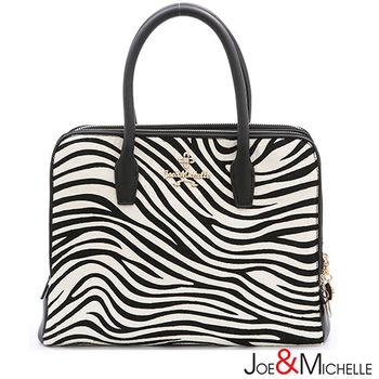 JOE MICHELLE 真皮卡蘿琳奢華斑馬紋手提包    斑馬黑