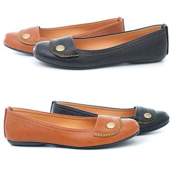 【cher美鞋】 反折滾邊拉鍊娃娃鞋☆黑/棕色☆636-224