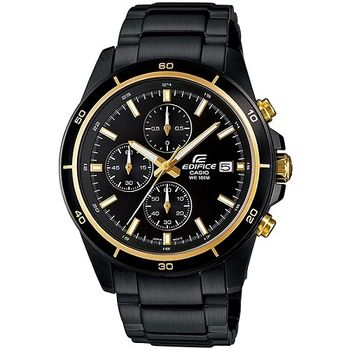 CASIO EDIFICE 疾黑程式碼表計時賽車錶(閃耀金x黑)_EFR-526BK-1A9