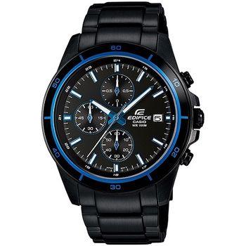 CASIO EDIFICE 疾黑程式碼表計時賽車錶(湛藍x黑)_EFR-526BK-1A2
