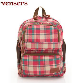 【Vensers】新潮流行包系列~後背包(D3701102紅色格紋)