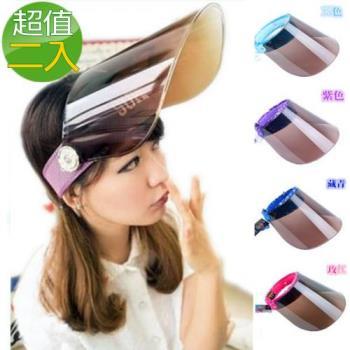 【Verona】專業抗紫外線太陽眼鏡鏡片可調節式防曬帽(二入)