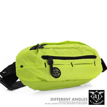 【AJ.亞介】 多格層 質感尼龍 隨身腰包 單肩包 螢光綠  (UE8036)