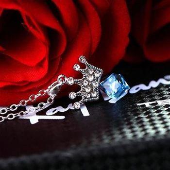 【米蘭精品】925純銀項鍊水晶吊墜鑲鑽甜美公主風皇冠造型