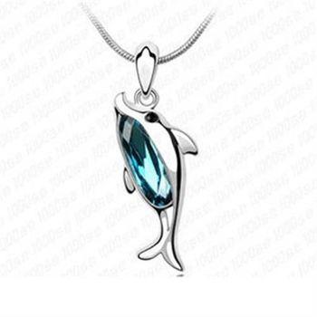 【米蘭精品】925純銀項鍊水晶吊墜甜美吸晴海豚造型