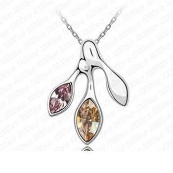 【米蘭精品】925純銀項鍊水晶吊墜獨特造型幾何切面短款