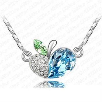 【米蘭精品】925純銀項鍊水晶吊墜鑲鑽可愛甜美蘋果心型