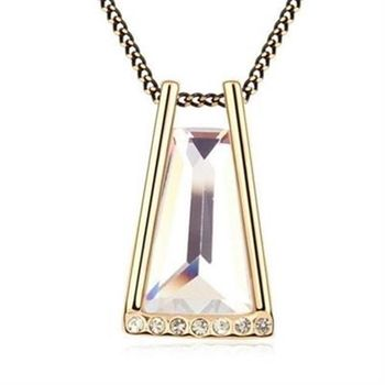 【米蘭精品】925純銀項鍊水晶吊墜鑲鑽璀璨沙漏造型