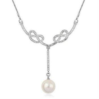 【米蘭精品】925純銀項鍊珍珠吊墜閃耀動人鎖骨