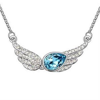 【米蘭精品】925純銀項鍊水晶吊墜鑲鑽絢麗天使翅膀造型