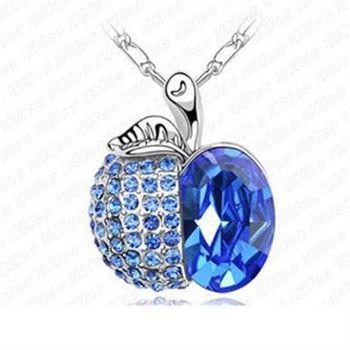 【米蘭精品】925純銀項鍊水晶吊墜鑲鑽甜美吸晴蘋果造型