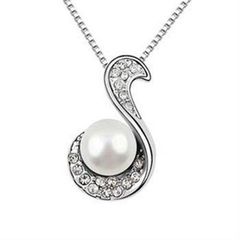 【米蘭精品】925純銀項鍊珍珠吊墜流行字母鑲鑽