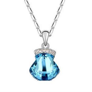 【米蘭精品】925純銀項鍊水晶吊墜鑲鑽獨特幾何貝殼造型