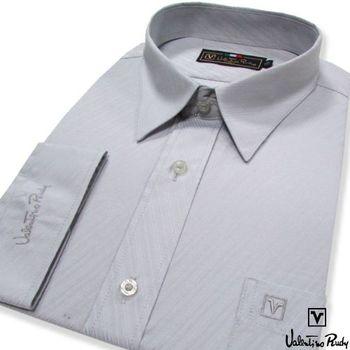 Valentino Rudy范倫鐵諾.路迪 長袖襯衫-灰色斜紋(暗釘釦)    (零碼出清 17.5吋/42)